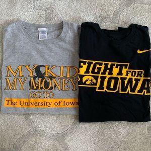 University of Iowa tee shirts.